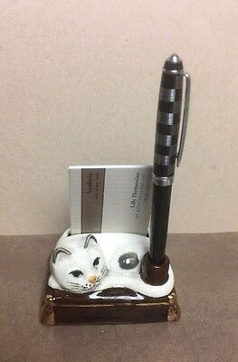 Takahashi San Francisco Crazed Gray Sleeping Cat Pen and Business Card Holder