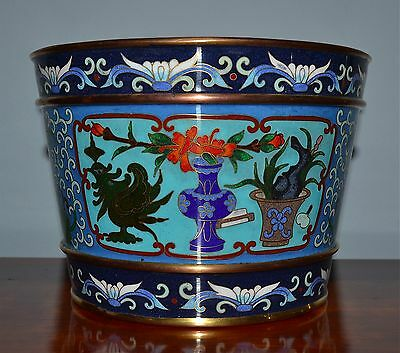 Old Chinese Cloisonne Jardiniere Scholar's Objects Scrolling Vines