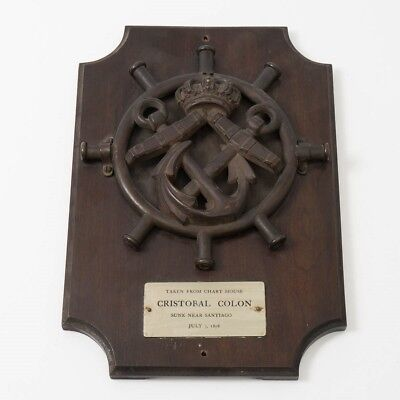 Original Salvaged Wreckage Treasure from 1898 Italy's Cristobal Colon on Plaque