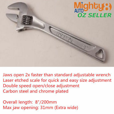 """Husky 8""""/200mm Double Speed Adjustable Wrench Spanner Shifter Extra Wide Jaw"""