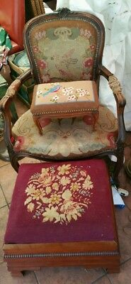 Vintage Petite Needlepoint French Provincial Footstool Adorable Bird Signed Old