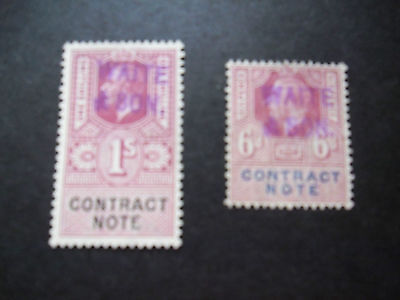 Contract Notes, 1x 1 Shilling and 1 x 6 pence