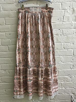 Vtg 70s skirt Long L 12+ Girl Prairie Colonial Pink Printed cotton HER MAJESTY