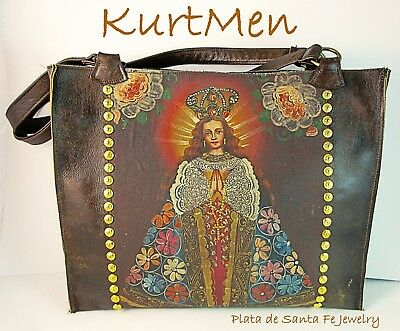 Colonial~Hand Painted~OOAK~16-18th Century~Cuzco Peru Style~Italian Leather~Tote