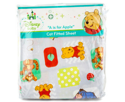 Disney Baby Cot Pooh A Is For Apple Fitted Sheet - Grey