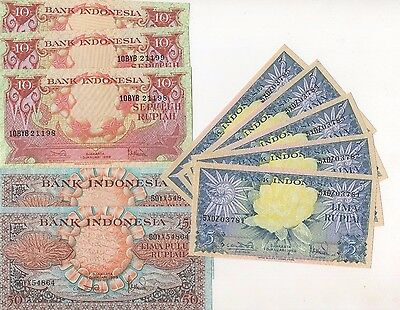 i37 Indonesia 5 10 50 Rupiah 1959 P-65-6 68 Consecutive 2+3+5 Banknotes Currency