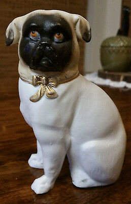 Antique Bisque Seated Pug Dog Staffordshire Type