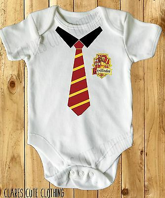 Gryffindor School Tie Harry Potter Baby Vest/ Grow White Available In Most Size