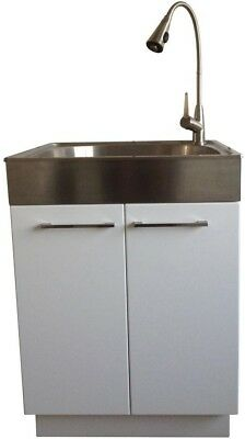 Laundry Sink High Arc Faucet 2 Door Cabinet Utility Storage Stainless Steel