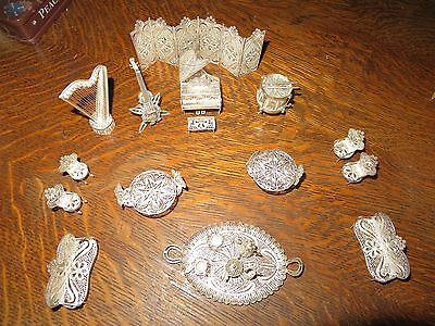 Filigree Silver Miniature Furniture Piano Mandolay Drum Screen Harp Doll House
