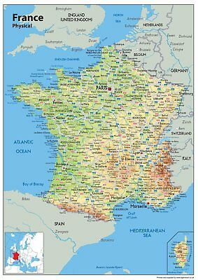 Wall Map of France A1 Paper Laminated Physical Map [GA]