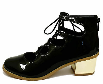 Womens Black Patent Lace-Up Chunky Slip-On Shoes Low-Heel Ankle Boots Sizes 3-8