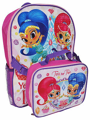 """Shimmer and Shine 16"""" Backpack with Lunch Bag Full Size School Tote"""