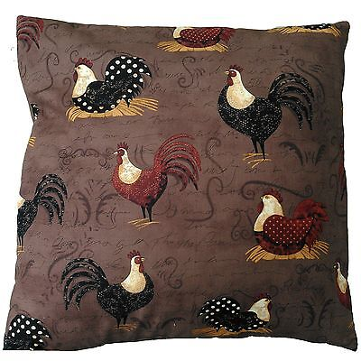 "Brown Chickens and Cockerels Print Cotton Cushion Cover Size 16"" x 16"""