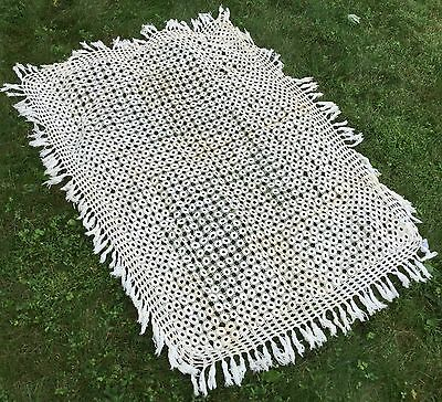 "Antique Handmade & 100% Cotton Rectangular CROCHETED LACE Tablecloth - 51"" x 37"""