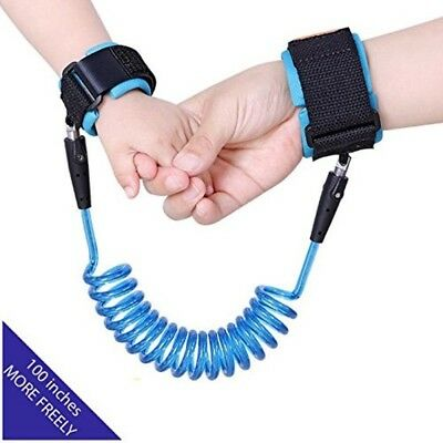 Toddler Leash Anti Lost Wrist Link Strap Safety Harness For Baby Kids 2.5M Blue