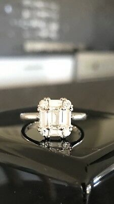 18ct White Gold Cluster Engagement Ring with Emerald Cut Diamond 1.01ct