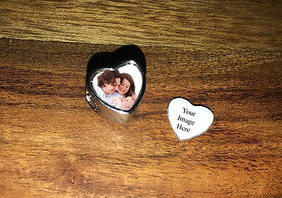 Personalised heart photo charms, fits well known brands