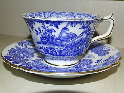 Beautiful BLUE AVES Royal Crown Derby Footed Cup & Saucer Teacup Set