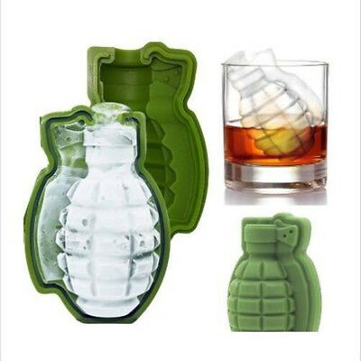 3D Grenade Shaped Ice Cube Mold Maker Silicone Tray Great Bar Party Gift