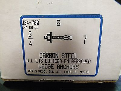 "Box of 6 Carbon Steel Concrete Wedge Anchors ~ 3/4"" x 7"""