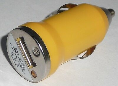 CAR CIGARETTE LIGHTER to USB Port Adapter NEW Plug Converter MP3 Charger YELLOW