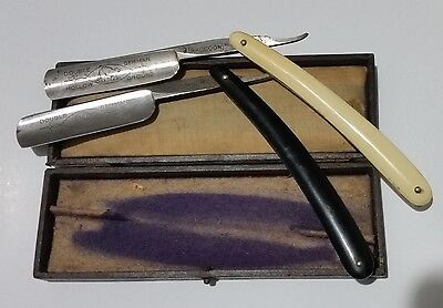 2 x RACCOON Wald-Solingen straight razors cut throat boxed hollow ground Germany