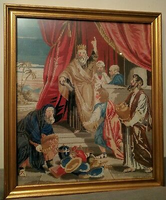 Antique Victorian Tapestry king and offerings