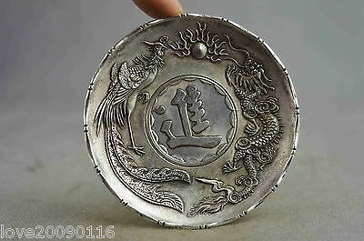 Collection Handwork Old Miao Silver Carve Might Dragon & Phoenix Exorcism Plates