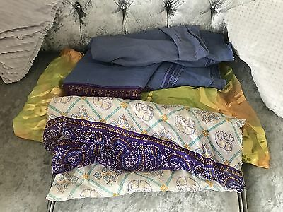 Joblot Of 3 Scarf Scarve Shawl Pashmina Indian Free Postage Purple Green Yellow