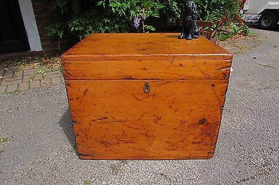 Antique Victorian stripped and waxed pine chest trunk blanket box