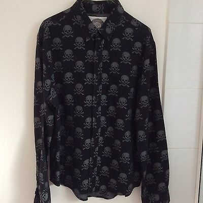 men's shirt long sleeve,black & grey skull pattern, dangerfield, size L,