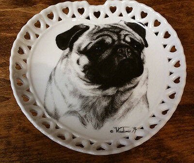 Pug Dog Special Collector Plate Best of Show Porcelain by Rosalinde RETICULATED
