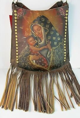 Colonial~Hand Painted~Cuzco Peru Style~MADONNA/CHILD~Italian Leather Crossbody