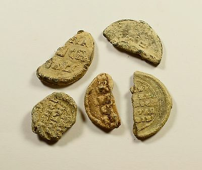 Fragments Of Ancient Byzantine Lead Seals - Lot Of 5