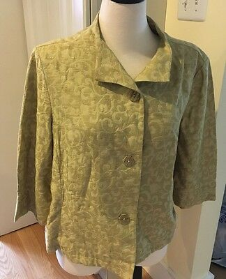 Coldwater Creek Green 3/4 Sleeve Blazer Jacket Size Petite XL NWT Button Front