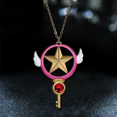 Anime Card Captor Sakura Kinomoto Star Wand Key Cosplay Pendant Metal Necklace