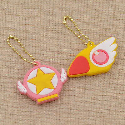 2pcs Card Captor Sakura the Clow KeyChain Figure Cosplay Keyring Magic Pendant