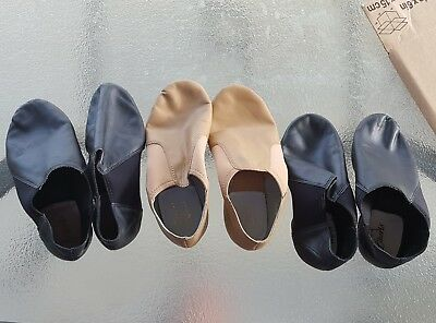 2 Black & 1 Tan Pair of Slip On Jazz Shoes - Lightly Used.