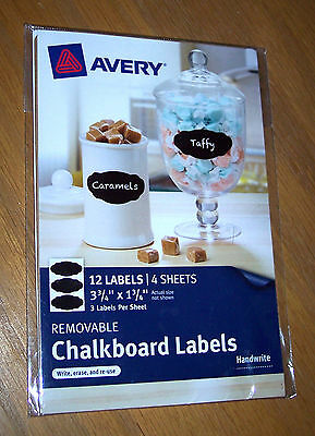 """Avery 73304 1-3/4"""" X 3-3/4"""" Black Removable Chalkboard Labels 12 Pack Reuseable!"""