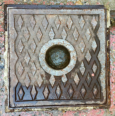 Antique Victorian Cast Iron Manhole Patterned Cover Grate And Frame
