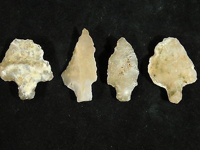 Lot of FOUR 55,000 to 12,000 Year Old Aterian Lithic Stemmed Artifacts 7.16