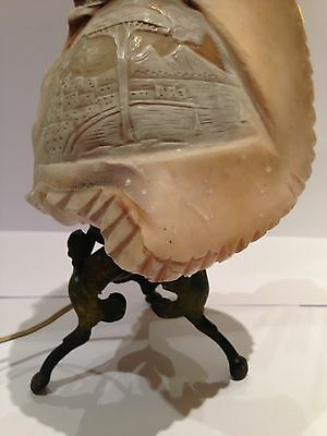 Antique Carved Cameo Shell Lamp Italian
