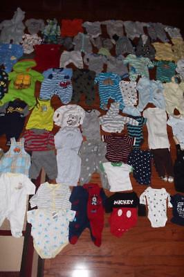 Baby Boy Newborn Clothing Lot Carters 70 Pieces Bodysuits Outfits Shirts Pants