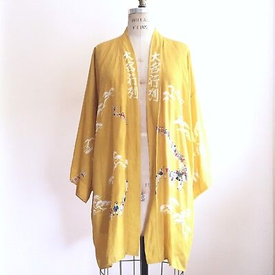 Vtg Kimono Yellow Made In Japan Sz S/M