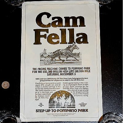 """Very Rare Cam Fella Pompano Park Poster """"Last US Race""""  One of Only Four!"""