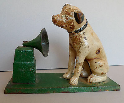 Vintage cast iron RCA Victor dog His Masters Voice Nipper Victrola horn #181
