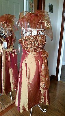 Cherlone Satin Gold Prom Cocktail Party Formal Knee Length Evening Dress UK 8-10