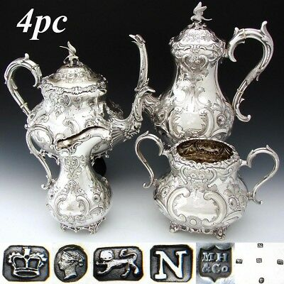 EXQ Antique English Sterling Silver & SP 4pc Coffee & Tea Set, Figural Mascarons