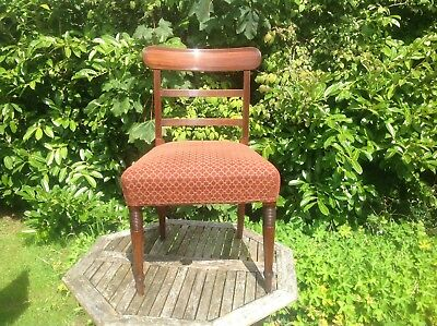 Antique Regency Mahogany Side/hall/desk/bedroom Chair Upholstered Seat Sturdy